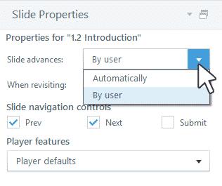 تنظیمات خصوصیات اسلایدها