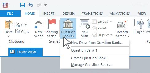 مدیریت بخش بانک سوالات در استوری لاین